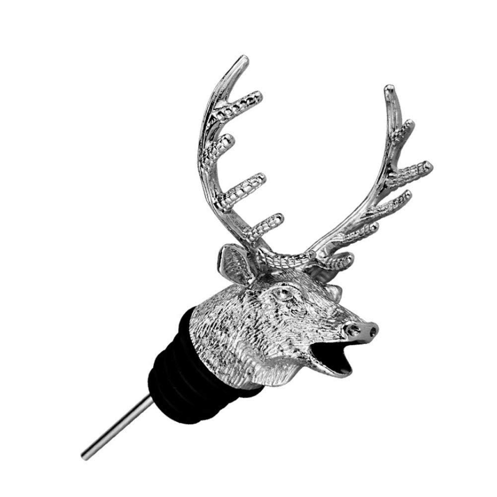 Wine Stopper Pourer Creative Deer Head Shaped Wine Aerator Pourer Multi Function Wine Stopper Home Decor 1pc Silver Wine Accessories for Wine Lover Christmas Gift,Decanter Spout fit All Red