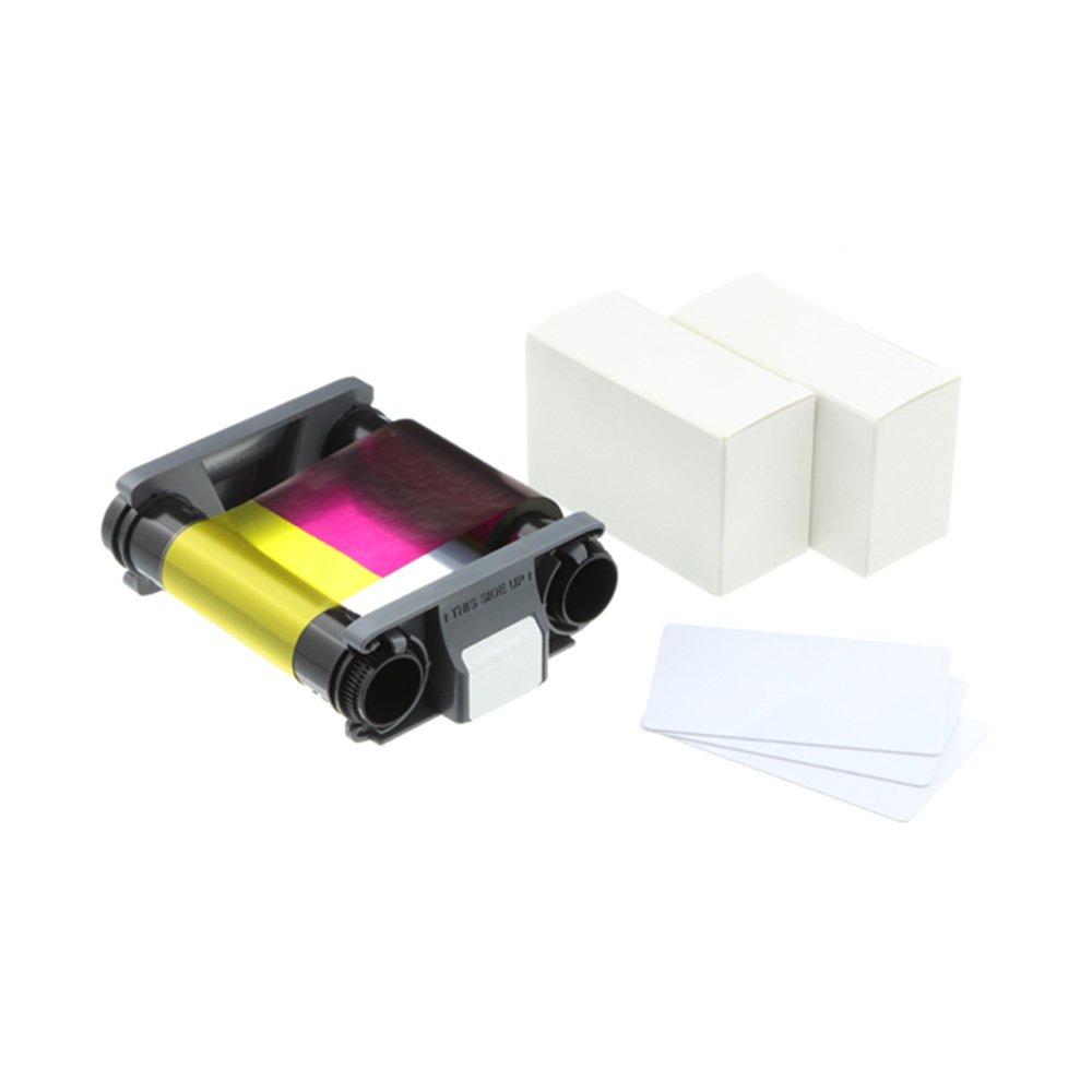Evolis Badgy200 YMCKO Color Ribbon + 30 Mil Card Supplies Kit - CBGP0001C by Evolis