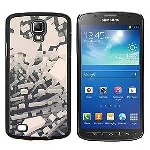Caucho caso de Shell duro de la cubierta de accesorios de protección BY RAYDREAMMM - Samsung Galaxy S4 Active i9295 - Abstract bloques blancos