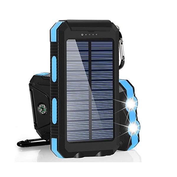 Solar Chargers 30,000mAh, Dualpow Portable Dual USB Solar Battery Charger External Battery Pack Phone Charger Power Bank with Flashlight for Smartphones Tablet Camera