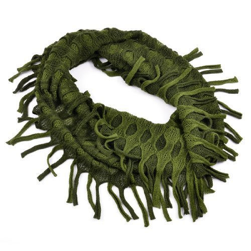 Infinity Circle Scarf Ribbed Knit Fringe Loop Scarves Winter Warm for Womens and Girls