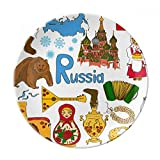 Russia Landscap Animals National Flag Dessert Plate Decorative Porcelain 8 inch Dinner Home
