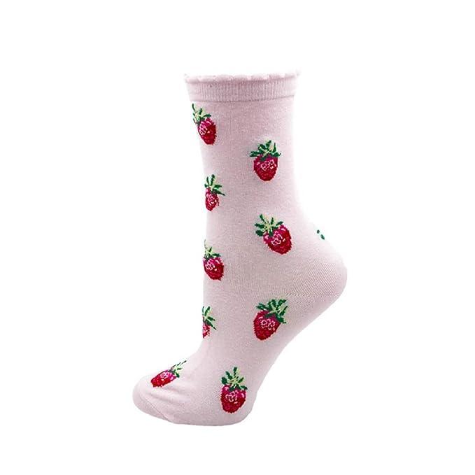 Engqueen Calcetines de las mujeres dulces Divertido Lindo Crema Color Caramelo Leche Fresa Unicornio Calcetines Casuales para Niña Regalo de Navidad: ...
