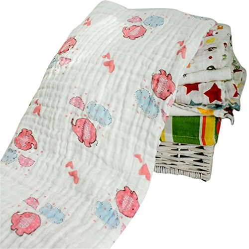 et Infant Cotton Comfortable Muslin Swaddle Towel 120120Cm A8 ()