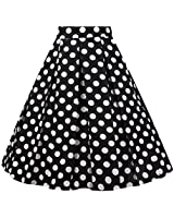 Dresstore Vintage Pleated Skirt Floral A-line Printed Midi Skirts with Pockets Black-White Dots-S