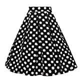 OBBUE Dresstore Vintage Pleated Skirt Floral A-line Printed Midi Skirts with Pockets Black-White Dots-S