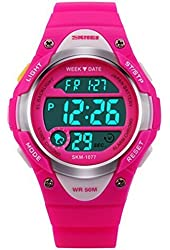 Misskt@ Children Watch Outdoor Sports Kids Boy Girls LED Digital Alarm Stopwatch Waterproof Wristwatch Children's Dress Watches Rose red