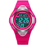 Misskt@ Children Watch Outdoor Sports Kids Boy Girls LED Digital Alarm Stopwatch Waterproof Children's Dress Watches Rose red