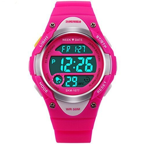 Misskt@ Children Watch Outdoor Sports Kids Boy Girls LED Digital Alarm Stopwatch Waterproof Children's Dress Watches Rose red