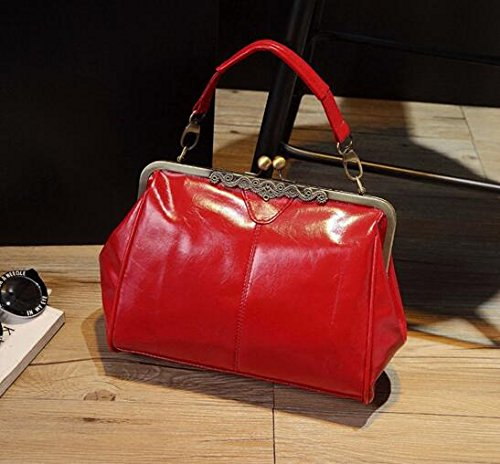 Evalent Women Retro Vintage Handbag Shoulder Bags Tote Purse Pu Leather Ladies Messenger Hobo Bag Red