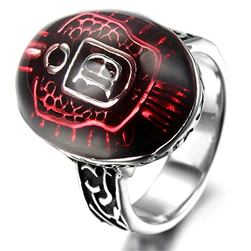 [Stainless Steel Ring for Men, Oval Ring Gothic Black Band Rot 19*27MM Size 13 Epinki] (Boss Hog Costume)