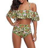 Swimwear for Women's Bohemia Print Swimsuit Swimwear Bathing Monokini Push Up Padded Bikini Beachwear Set for Women Mother Bikini Swimsuit for Women Ladies Swimwear Suit for Beach,Party (L, Green)