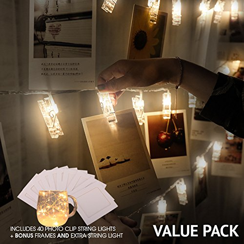 Photo Clip String Lights   VALUE PACK   40 LED Lights Battery Powered   Home Decoration, Weddings, Parties, Showcase Pictures, Dormroom, Decor   FREE 10-Pack Picture Frames & BONUS String Lights