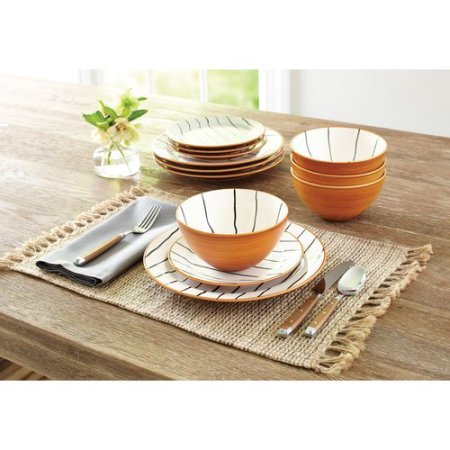 Unique Hand-Painted 12-Piece Sabin Striped Dinnerware Set,Better Homes and Gardens - White
