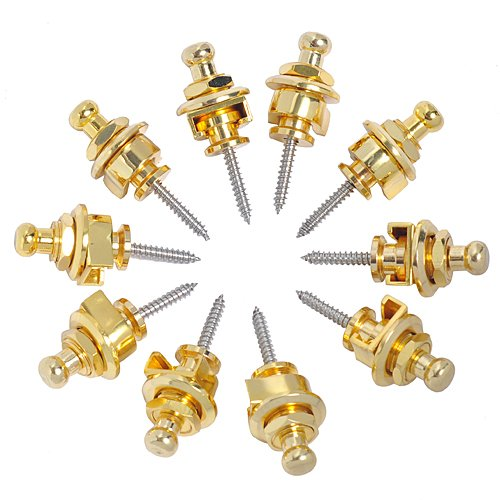 Kmise A0534 10 Piece Round Head Strap Locks for Guitar Schaller-Style Replacement, Golden