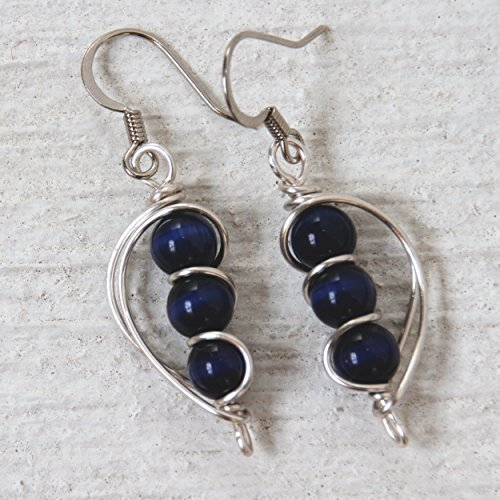 (Dark Blue Wire Wrapped 3 Bead Dangle Earrings - Casual Wear Handmade Navy Jewelry)