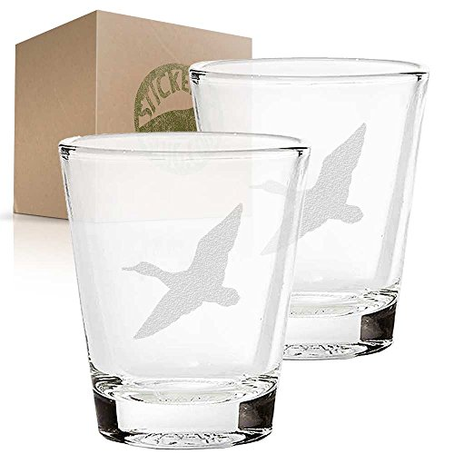 Soaring Duck etched glass shot glass set of two etch shot glasses for - Glass Etched Duck