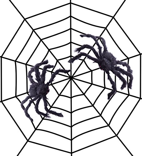 Halloween Spiders On House (Fake Spider Web Black Halloween Decorations,with 2 Big Spiders- Outdoor Yard Haunted House Party Decor Supplies 8.2ft)