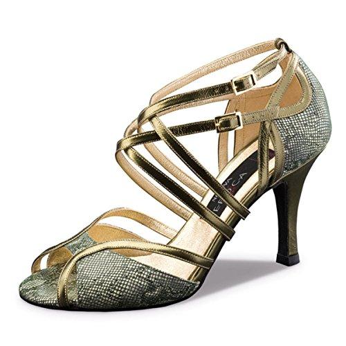 Nueva Era - Chaussure Femme Tango / Salsa Penelope - Oliv / Cuir Cuivré - 8 Cm