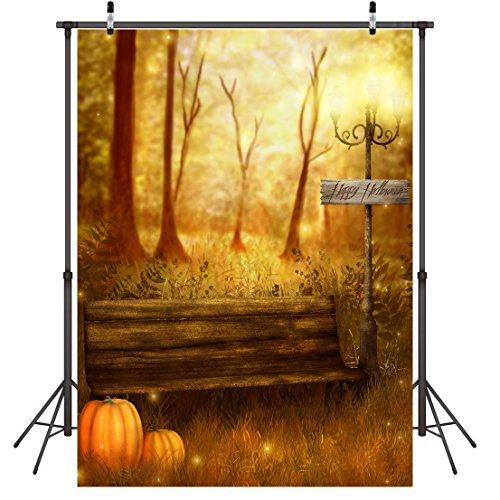 LYWYGG 5x7FT Halloween Pumpkin Autumn View Backdrop Pumpkin