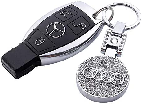 Car Keychain Accessories with Alloy Metal and Two Blue Lights Suit for Audi A1 A3 A4 A5 A6 A7 A8 Q3 Q5 Q7 Q8 S5 S8 R8 RS Series Present for Women and Men Gray 1 Pcs for Audi