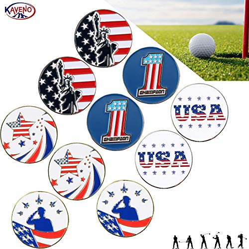 kaveno Golf Ball Marker Series, Assorted Design, Pack of 5/10/20 (USA Elements2-10PCS)
