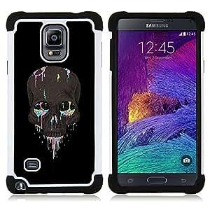 """Pulsar ( Colorido Cráneo Negro Gris Pintura Muerte"""" ) Samsung Galaxy Note 4 IV / SM-N910 SM-N910 híbrida Heavy Duty Impact pesado deber de protección a los choques caso Carcasa de parachoques"""