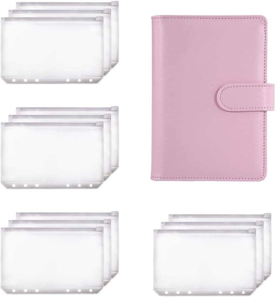 Notewisher Planificador de Carpetas A6 Carpeta de Cuaderno Rosa y 12 Carpetas con Cremallera de Carpeta de 6 Orificios, Bolsillos de Carpeta Billetera con Sobre de Efectivo