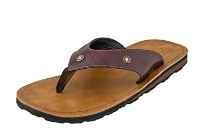 67281b143639 Combat Flip Flops AK-47 Flip Flops for Men and Boys. Brown Leather Thong  and Deck On Military Grade Rubber Outsoles. 7.62x39mm Cast AK-47 Casing  Heads