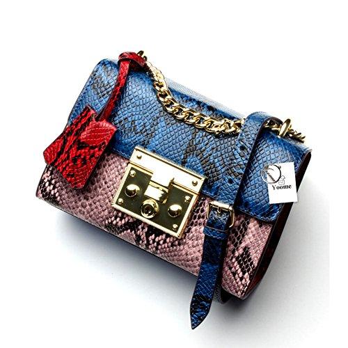 Bolso de Yoome Crossbody para las mujeres Bolso del patrón de la serpiente Bolsas Messager del solo hombro de la moda del diseñador Azul Rosado