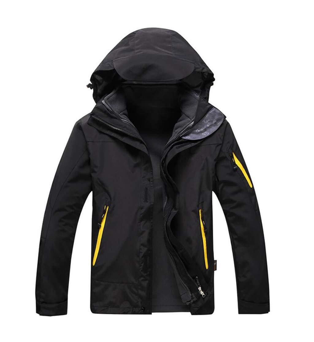 ZJEXJJ Outdoor Zweiteilige Jacke abnehmbare Dicke Bergsport Jacke Fleece Liner Winter warme Wasserdichte Jacke (Farbe   SCHWARZ, größe   L)