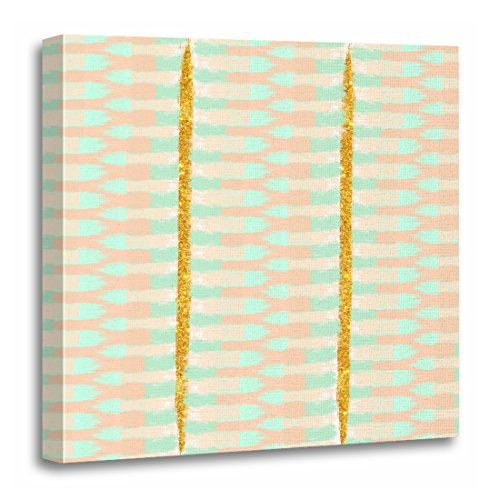 - TORASS Canvas Wall Art Print Green Ikat Boho Chic Mint Pink Brush Strokes Stripes Artwork for Home Decor 20