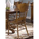Liberty Furniture Nostalgia Press Back Dining Side Chair in Medium Oak