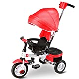 Baby stroller ZHAOJING Children Tricycle Bike 2-3-4-6 Years Old Boy And Girl Multi-function Folding (Color : Red)