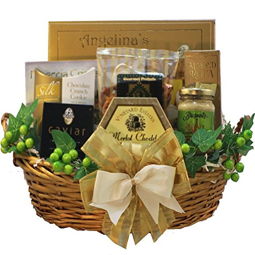 Savory Sophisticated Gourmet Food Gift Basket with Caviar, Medium (Chocolate Option) (Wine And Chocolate Hampers)
