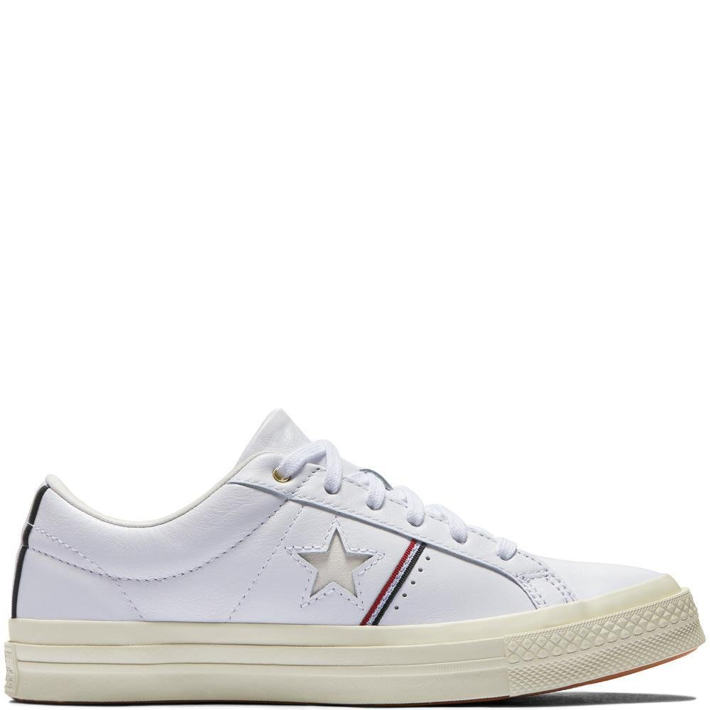 Bianco (bianca Enamel rosso Egret 102) Converse Lifestyle One estrella Ox Leather, Sautope da Fitness Unisex – Adulto