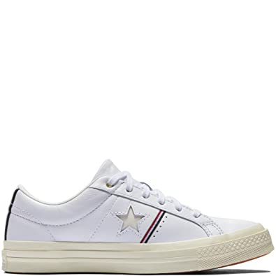 d4abcd4bec6cf7 Converse One Star OX White Enamel Red Egret (10.5 Women   8.5 Men