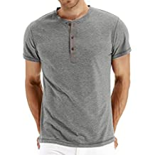 Mr.Zhang Men's Casual Slim Fit Long Sleeve Henley T-Shirts Cotton Shirts
