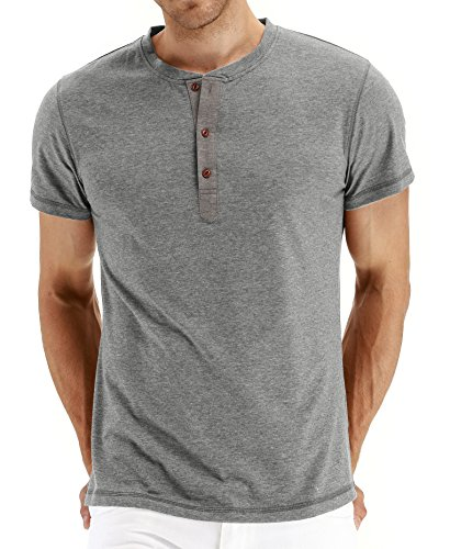 PEGENO Men's Casual Slim Fit Short Sleeve Henley T-shirts Cotton Shirts Gray-US S