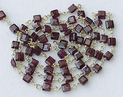 GemAbyss Beads Gemstone 1 feet Garnet Faceted Flat Box Beads Connector Chains in 925 Silver Gold Plate Wire Wrapped Rosary Style Chain Code-MVG-17137