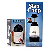 Original Slap Chop Slicer with Bonus Cheese Graty ● Stainless Steel Blades ● Vegetable Chopper Gadget ● Mini Chopper for Salads ● Kitchen Accessory (Slap Chop + Graty)