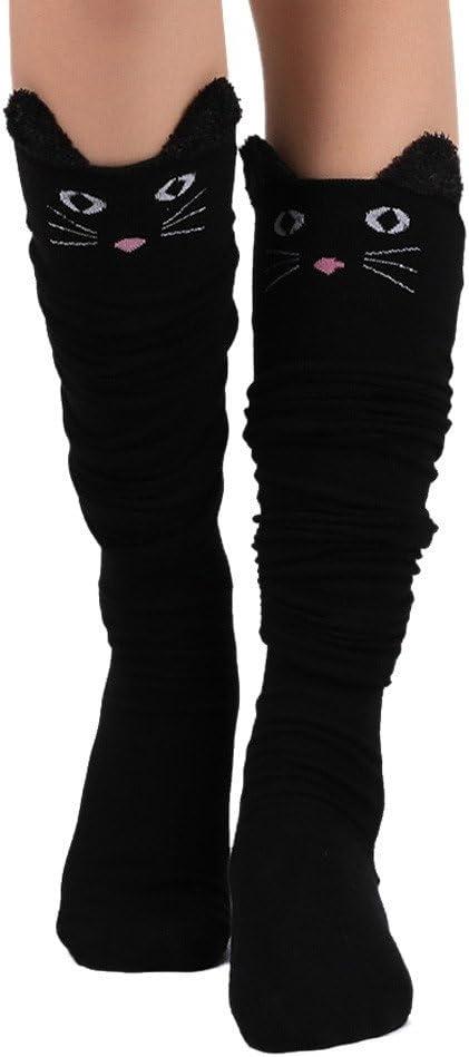 Girls Socks, Lovely Cartoon Cotton Over Calf Knee High Socks Kawaii Animal Cat Long Stockings