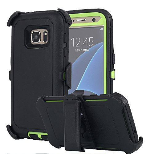 Galaxy S7 Case, AICase Heavy Duty Holster Case Belt Clip + Armor Protective Kickstand Cover with Built-in Screen Protector for Samsung Galaxy S7 (2016) (Black/Green)