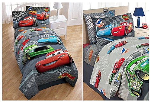 7 Piece Full Size Disney Cars Comforter, Two Pillow Shams and Sheet Set (Disney Cars Comforter Toddler Bed)