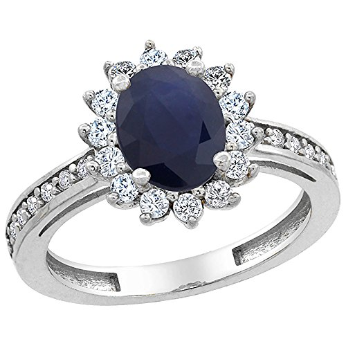 14K White Gold Natural Blue Sapphire Floral Halo Ring Oval 8x6mm Diamond Accents, size 8.5 (Gold White 14k Floral Ring)