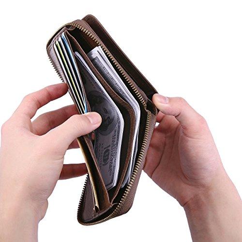 Mens Leather Wallet,E Ekphero Zipper Card Holder RFID Blocking Wallet Coins Purse by E Ekphero (Image #5)
