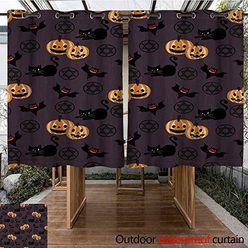 RenteriaDecor Outdoor Curtain for Patio Halloween Pumpkins bat and Black cat Seamless Pattern W96 x -