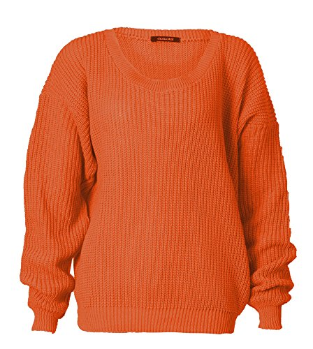 Forever Womens Long Sleeves Knitted Baggy Style Oversize Plain Jumper Sweater (One Size = (8-14), Rust)