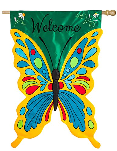 (Evergreen Welcome Butterfly Double-Sided Appliqué House Flag - 28