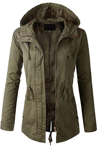 Fashion Boomy Womens Zip Up Military Anorak Jacket W/Hood,S